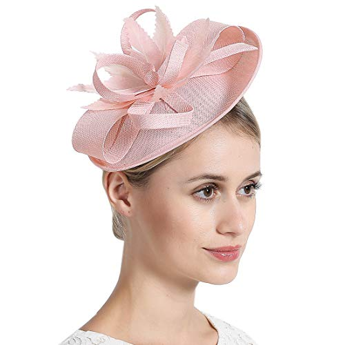 Free Yoka Womens Fascinators Feather Pillbox Hat Cute Beads for Cocktail Kentucky Derby Ball Wedding Church Party (Elliptic Pink) ()
