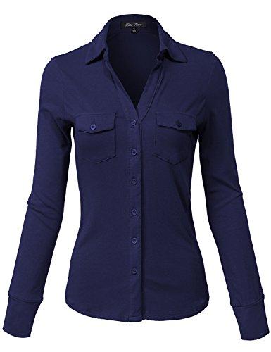 Fit Cotton Plain Button Down Shirts,140-g Navy,Medium (Sleeveless Button Front Jersey)