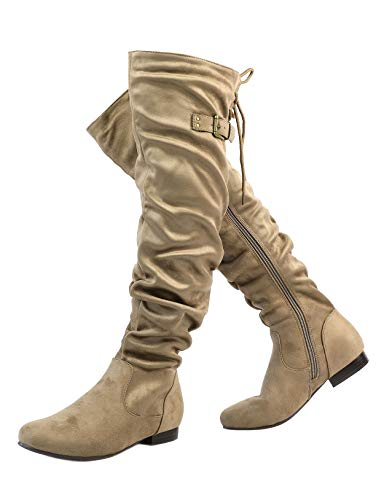 DREAM PAIRS Women's Colby Khaki Over The Knee Pull On Boots - 8.5 M US]()
