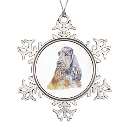 Sable Christmas Ornaments (Xmas Christmas Tree decoration Snowflake Ornaments Sable English Cocker Spaniel Snowflake Pewter Christmas Ornament)