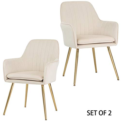 GOLDEN BEACH Set of 2 Elegant Velvet Dinning Chair Mid-Back Support Accent Arm Chair Modern Leisure Upholstered Chair with Gold Plating Legs (Beige)