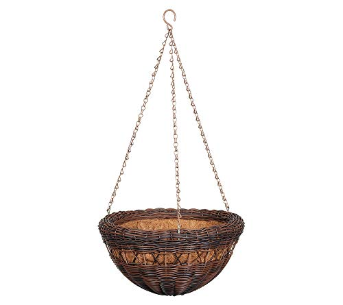 DMC Products 17-Inch Resin Wicker Hanging Basket with Chain Hanger, Antique Brown (Planter Traditional Wicker)
