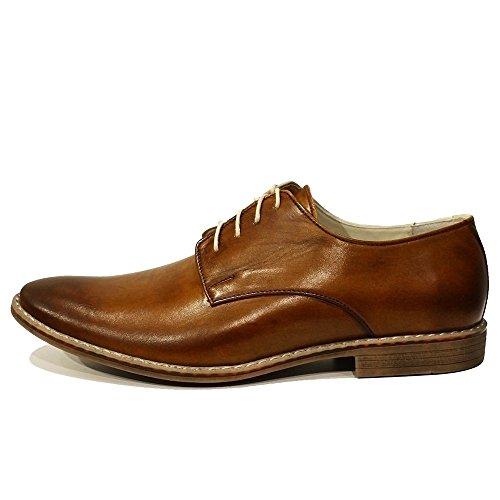 PeppeShoes Modello Malato - Handmade Italiano da Uomo in Pelle Marrone Scarpe da Sera - Vacchetta Pelle Verniciata a Mano - Allacciare