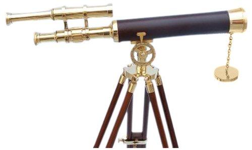 "Hampton Nautical  Floor Standing Brass/Leather Griffith Astro Telescope, 44"", Brass"