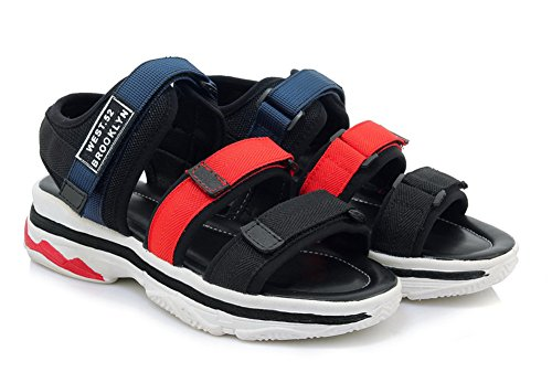 Flach Klettverschluss Durchgängig Unisex Sport Plateau Aisun Damen Blau Mesh Sandalette qtfYAqIw