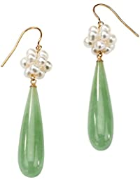 Genuine Green Jade and Cultured Freshwater Pearl Accent 10k Yellow Gold Drop Earrings