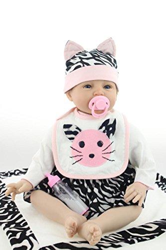 RoyalDoll Reborn Baby Dolls Girl 22 Inch Vinyl Silicone Baby Doll Eyes Open Realistic Lifelike Real Life Handmade Newborn Baby Girl Kitten Modeling -