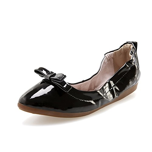 AllhqFashion Womens Pointed Closed Toe Pull On Patent Leather Solid Low Heels Pumps Shoes Black 7xqKU4lxNs
