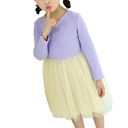 Purple Ball Clothes Dress Egmy Sleeve O Girls Baby Long Neck Gown Princess Mesh 7Rfnqwwx8