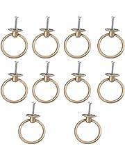 Angoily 10 Stuks Pull Ring Handvatten Zinklegering Enkel Gat Drawers Handvat Sieraden Doos Knoppen Kaptafel Handvat Voor Meubels Keuken Kast Zwart