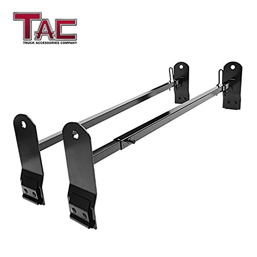 (TAC Universal 2 Bars Roof Ladder Rack for Van with Rain Gutter 600 LBS Capacity Utility Adjustable Cross Bar with Stopper for Kayak Canoe Ladder Lumber Pipes Cargo Carrier Accessories)
