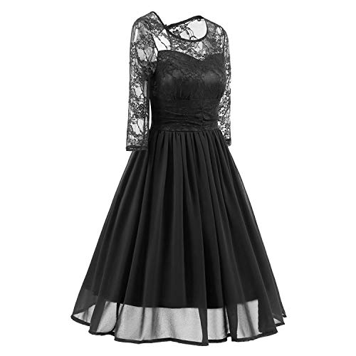 Women Lace Party Formal Dress Round Neck 3/4 Sleeves Chiffon Summer Vintage Dress,Black,L ()