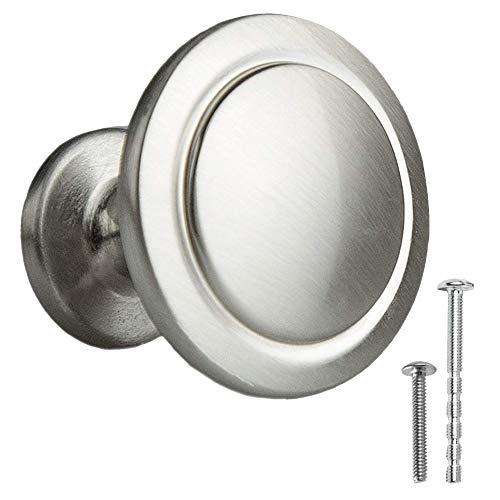 Satin Nickel Kitchen Cabinet Knobs - 1 1/4 Inch Round Drawer Handles - 10 Pack of Kitchen Cabinet Hardware ()
