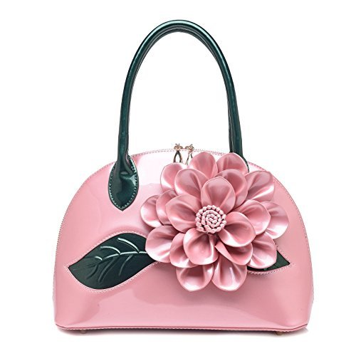 Bag Patent Leather Shopper (KAXIDY Ladies Handbags Flower Patent Leather Shoulder Bag Handbag Messenger Bags (Pink))
