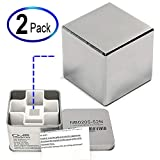 CMS Magnetics 2 Packs of 1' Cube Neodymium Magnets | Super Strong Rare Earth Magnet | Used as Stud Finders, Home, School & DIY Projects, Garage - Magnets are Individually Packed Tin Boxes for Safety
