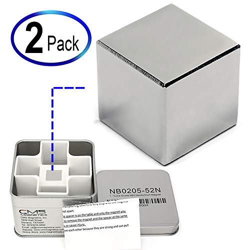 CMS Magnetics 2 Packs of 1 Cube Neodymium Magnets | Super Strong Rare Earth Magnet | Used as Stud Finders, Home, School & DIY Projects, Garage - Magnets are Individually Packed Tin Boxes for Safety