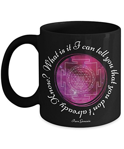 What is it I can tell you that you don't already Know? Spiritual, enlightening meditation yoga gift mug by Pure Genesis black coffee cup