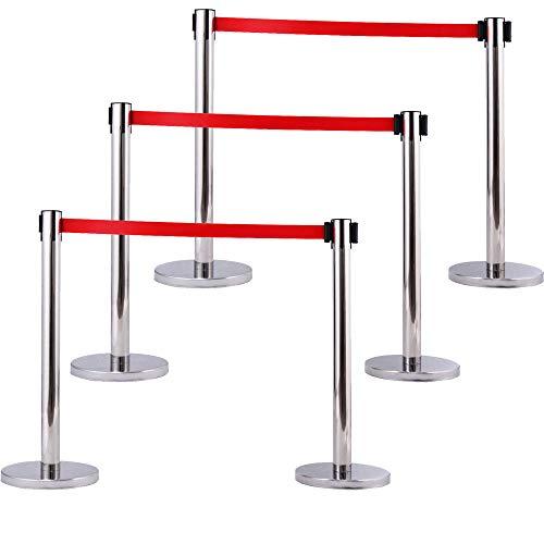 6X Silver Stanchion Posts Queue Pole Retractable Red Belt Crowd Control ()