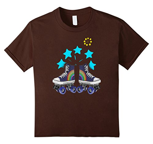 Kids rollerskates retro 70th disco glamour T shirt 10 Brown