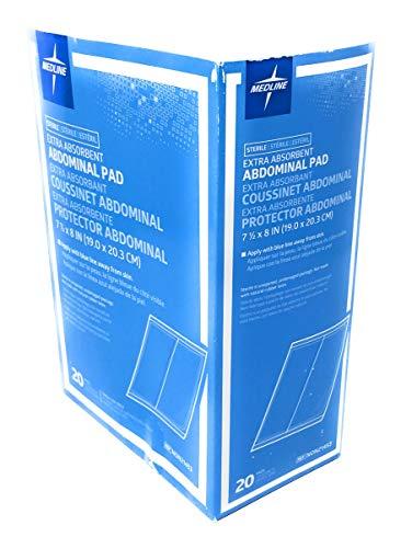 Medline Abdominal (ABD) Sterile 8x7.5 Pads - Box of 20 Pads - Pad Abdominal Dressing