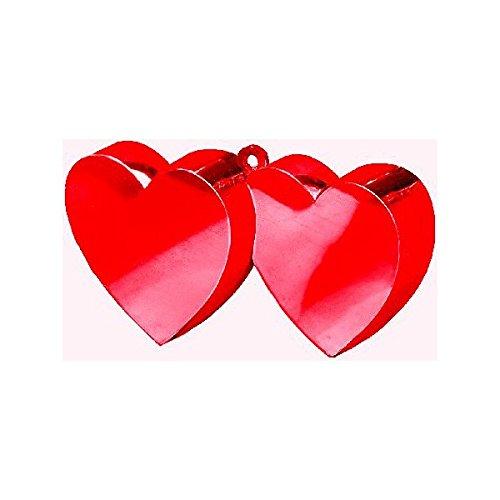 Valentine's Day Twin Hearts Metallic Red Balloon Weight, 6 oz.