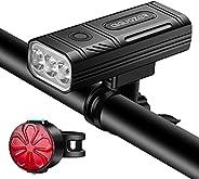 Aiguozer USB Rechargeable Bike Lights, Aluminum Shell 1200 Lumens 3 LED Bicycle Headlight, 5200mAh Waterproof