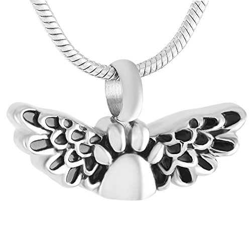 """Price comparison product image Peerless Pieces Urn Necklace Cremation Memorial Stainless Steel 20"""" Pet Paw Print Angel Wing 138"""