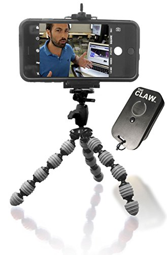 Flexible Tripod Best for iPhone 8 X 7 6 5 CellMount USB Rechargeable Bluetooth Remote for iOS. Locking Head Compact Bendable Camera Video vlogger Selfie The CLAW