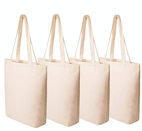 (Heavy Duty Cotton Deluxe Canvas Reusable Grocery Bags - Natural 4 Pack, Shopping Bags Shoulder Bags Washable)