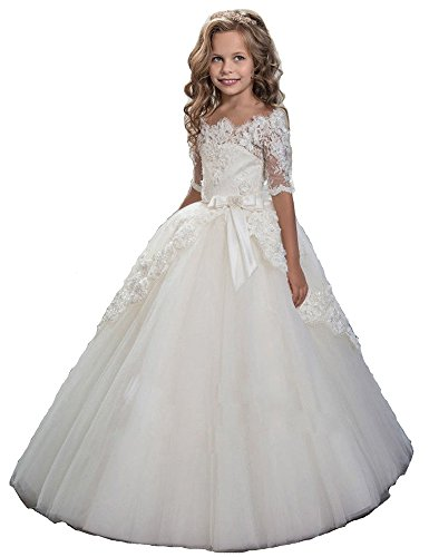Pagent Dresses For Kids (Nube Ball Gown White Lace Applique Flower Pagent Dress for Girls (10))