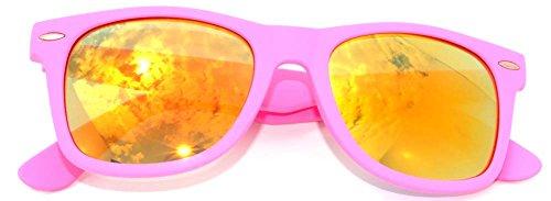 Ladies Vintage Lens Sunglasses Retro 80's Matte Pink - Sunglasses Framed Pink