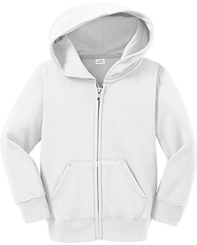 (Toddler Full Zip Hoodies - Soft and Cozy Hooded Sweatshirts, 2T White)