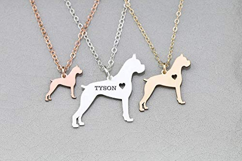 - Boxer Dog Necklace - German - IBD - Personalize with Name or Date - Choose Chain Length - Pendant Size Options - 935 Sterling Silver 14K Rose Gold Filled Charm - Ships in 1 Business Day