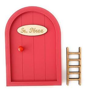 Puerta Ratoncito Pérez de madera varios colores + Escalera + Felpudo + Ratoncito de madera / Decoraciones de pared con adhesivo (Rojo)