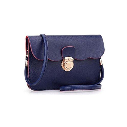Sannysis® Mujeres de moda bolso de cuero; monedero de mano (Rosa) Azul Oscuro