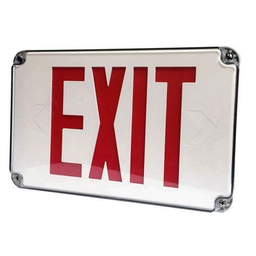 Morris 73452 LED Wet Location Exit Sign, Red Legend, White
