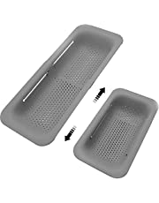Collapsible Sink Colanders and Strainers Basket Over the Sink Colander Collapsible Colander Extendable Plastic Fruit Vegetable Strainer Drainer Basket for Kitchen (Length 14.3 inch-19.4 inch) (Gray)