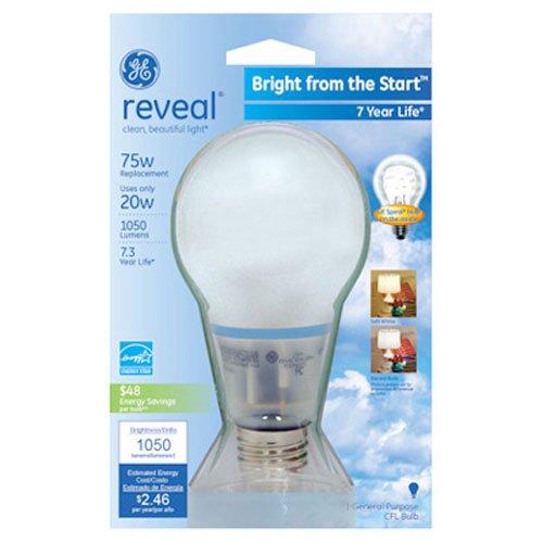 GE Lighting 63509 Reveal Bright from the Start CFL 20-Watt 1-Pack 1050-Lumen A21 Light Bulb with Medium Base 75-watt replacement