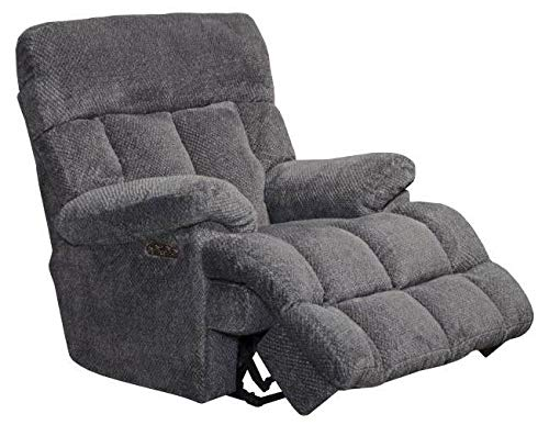 Power Headrest Power Lay Flat Recliner in Pewter Finish by Catnapper