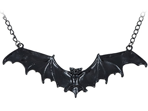 Alilang Frightening Halloween Black Enamel Paint Flying Bat Metal Chain Necklace Pendant -