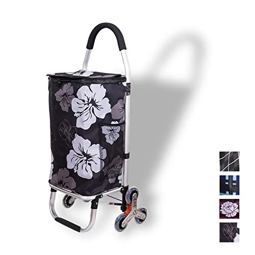 (WAYTRIM Outdoor Aluminum Folding Shopping Trolley Dolly with Rolling Wheels Lightweight Grocery Laundry Utility Cart Stair Climber with Wheel Bearings Portable for Shopping, Picnic, Travelling,)