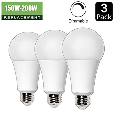 20W ( 150 Watt Equivalent ) A21 LED Light Bulb, 2300 / 2400 Lumens, E26 Medium Screw Base, UL listed, XMprimo - 3 Pack