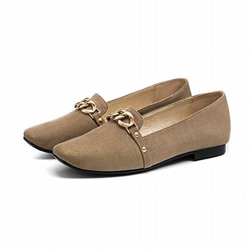femmes Carolbar clair chaussures charme plat ornement métal bout en à mocassins chaussures brun pdSdqw