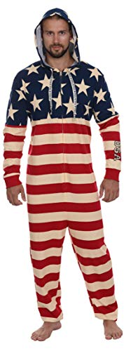 Men's American Flag Hooded Union Suit USA Pajama Costume, Size L/XL ()