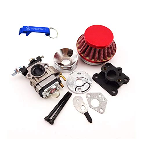 - TC-Motor Racing Carburetor Kit Carb Air Filter Stack Manifold Intake Pipe For 2 Stroke 47cc 49cc Mini ATV Quad Kids Dirt Pocket Bike