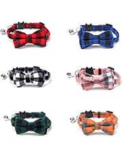 6 pcs Cotton Plaid Patterns Cat Collar Bow Tie Pet Collar with Bell for for Small Dogs and Cats Cute Kitten Quick Release Safety Adjustable Neck (6 Colours/Pack)