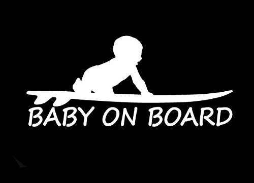 (CCI Baby On Board Surf Funny Decal Vinyl Sticker|Cars Trucks Vans Walls Laptop|White |3.0 x 6.5 in|CCI1655)