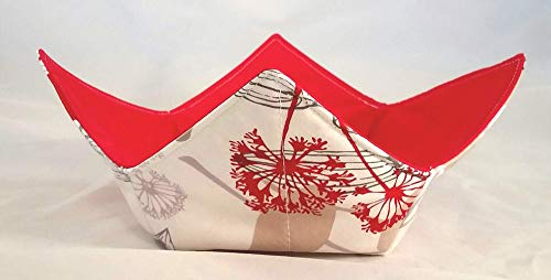 Microwave Bowl Cozy FloralDesign-Red Reversible Handmade Washable Cotton