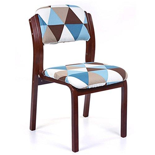 Wooden Chair,Home Cloth Cafe Restaurant Hotel Desk Backrest Chair (Brown frame Blue triangular lattice linen) ()