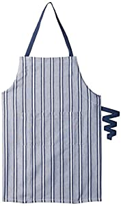 DII 100% Cotton, Professional Stripe Bib Chef Apron, Unisex Restaurant Kitchen Apron, Adjustable Neck Strap & Waist Ties, Machine Washable, Front Pocket, Perfect for Cooking, Baking, BBQ - Black